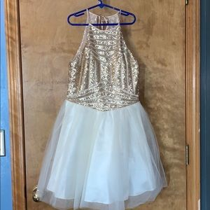 White and gold formal dress